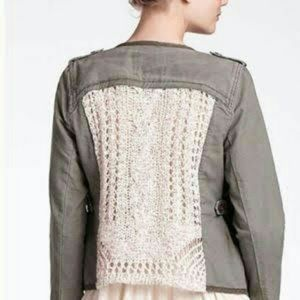 Anthropologie Crocheted Military Jacket DOL